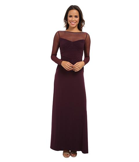 Calvin Klein - Long Sleeve Illusion Top Gown (Aubergine) Women
