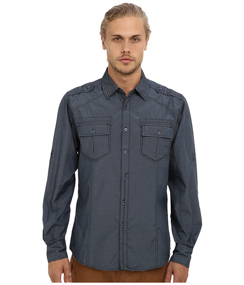 Sovereign Code - Steady L/S Shirt (Blue) Men's Long Sleeve Button Up