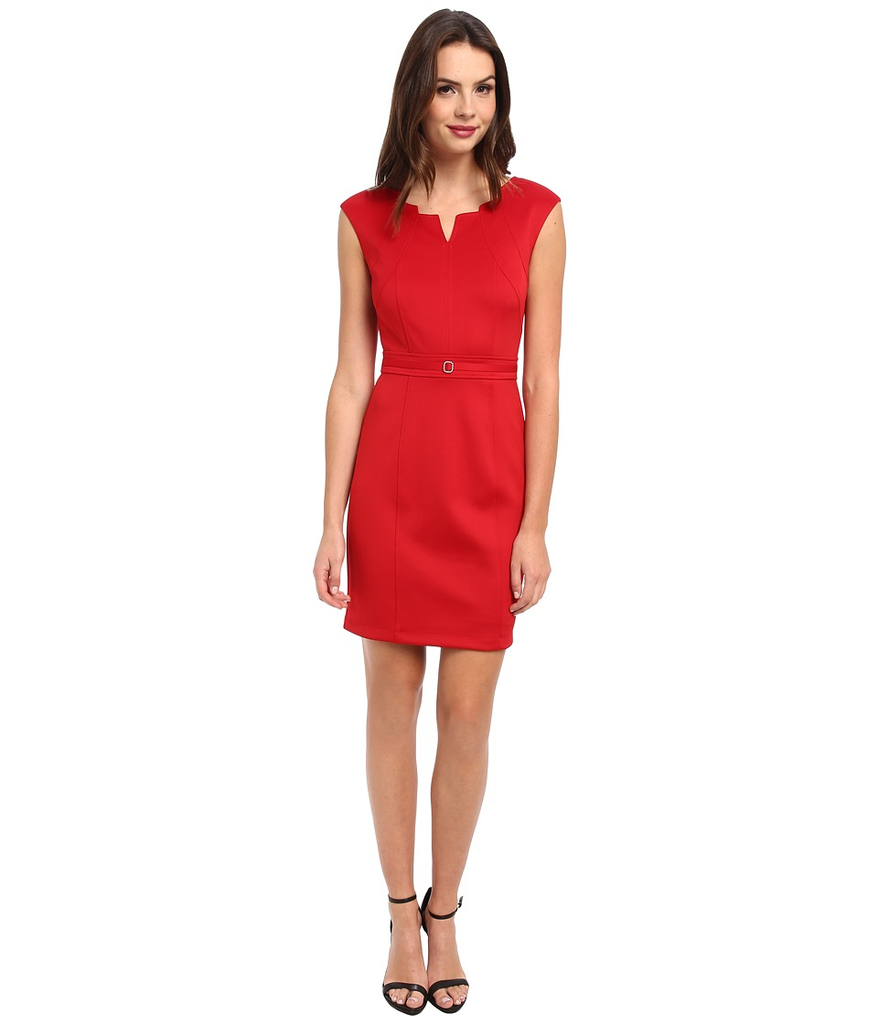 Ellen Tracy - Scuba Neck Cutout Sheath (Red) Women's Dress