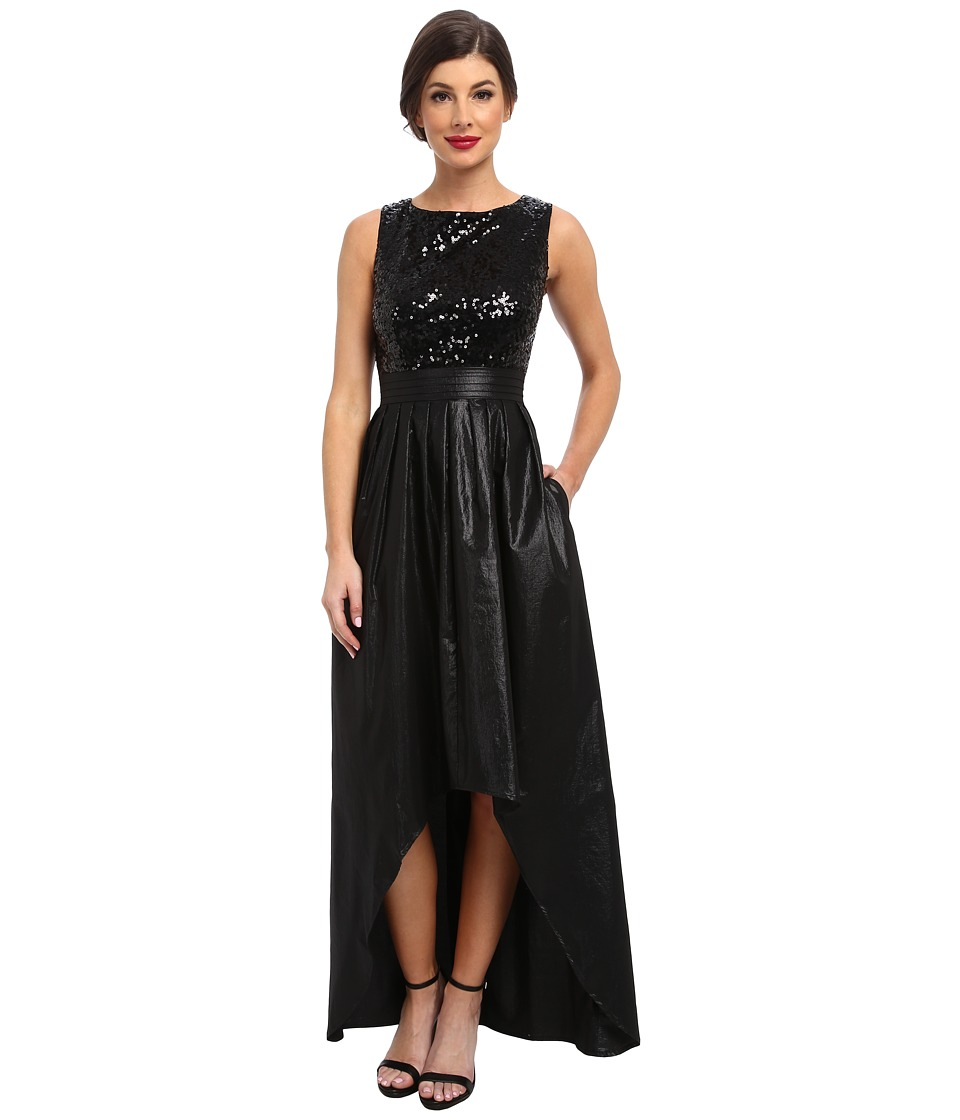 Ellen Tracy - Full Skirt High-Low Dress with Sequin Top (Black) Women's Dress
