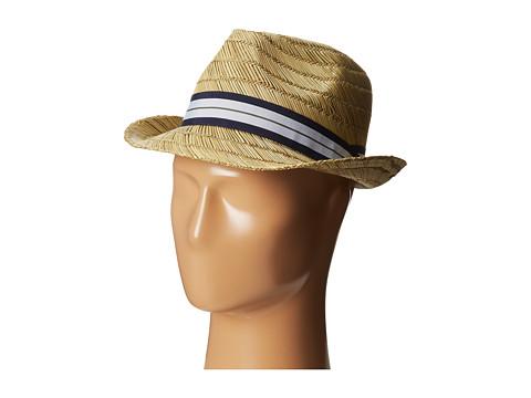Vince Camuto - Striped Grosgrain Raffia Fedora (Navy) Fedora Hats