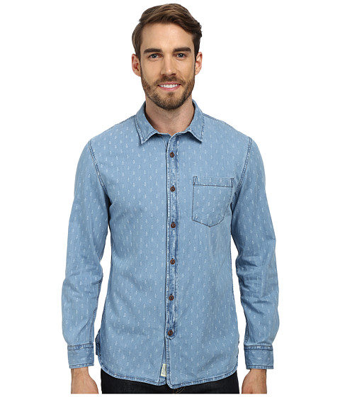 J.A.C.H.S. - Bleach Printed Denim Shirt (Blue) Men's Clothing