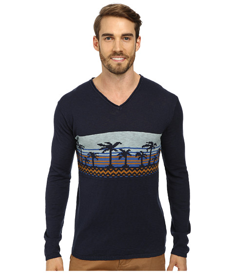 J.A.C.H.S. - Palm Tree V-Neck (Iris) Men's Sweater