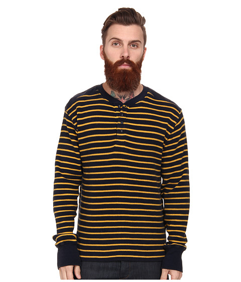 J.A.C.H.S. - L/S Henley (Yarn Dye Stripe) (Iris) Men's Sweater