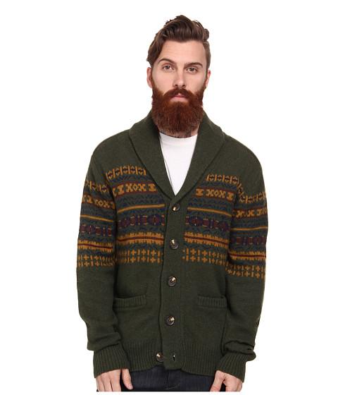 J.A.C.H.S. Intarsia Shawl Cardigan (Green) Men's Sweater