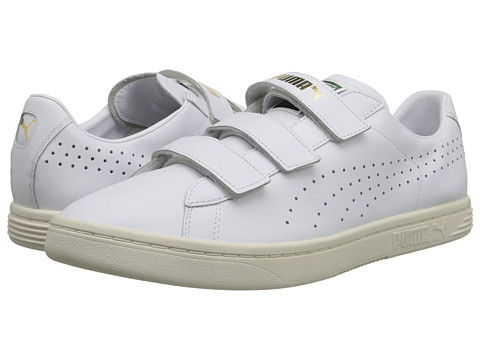 PUMA - Court Star Velcro (White/White/Whisper White) Men's Hook and Loop Shoes