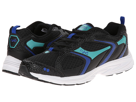 Ryka - Streak SMR (Black/Metallic Blue Ribbon/Metallic Aqua Green) Women