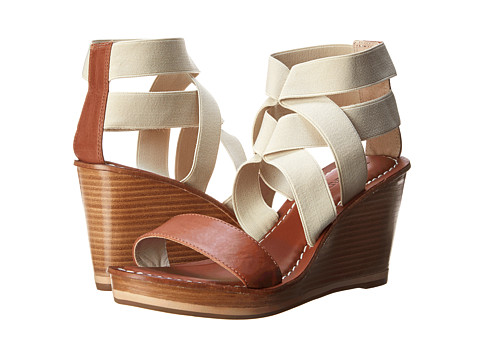 Bernardo - Kaila Elastic (Luggage Calf/Natural Elastic) Women's Wedge Shoes