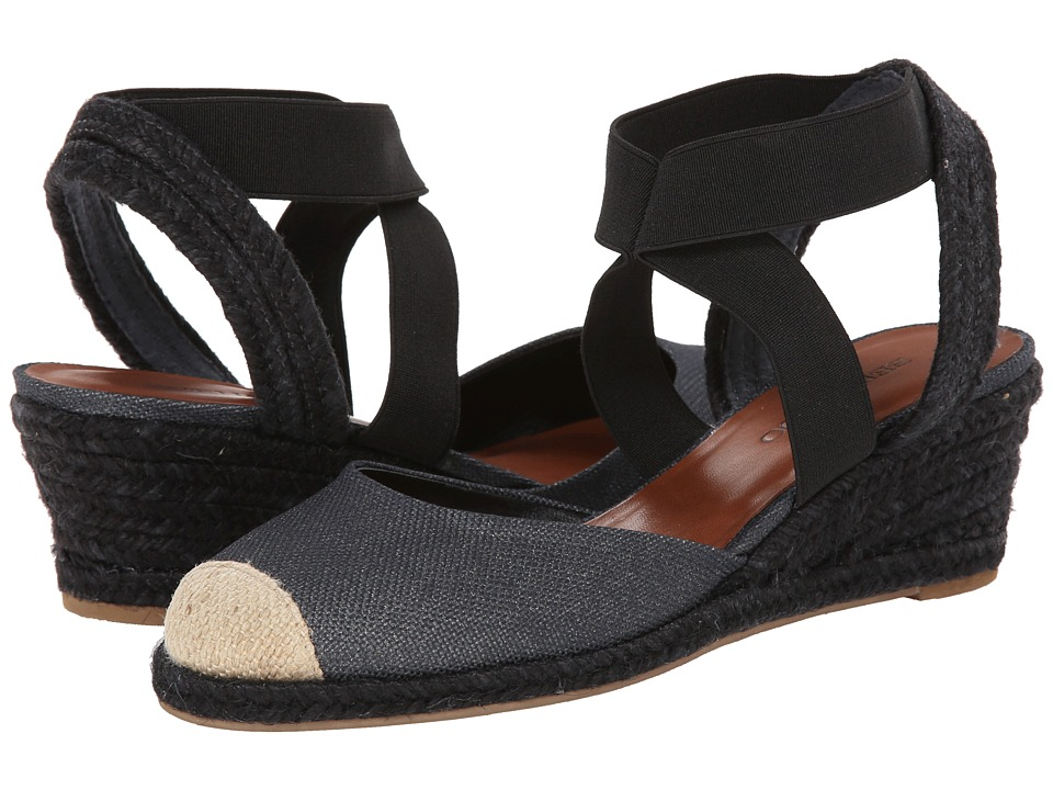 Bernardo - Nora (Black Metallic Linen) Women's Wedge Shoes