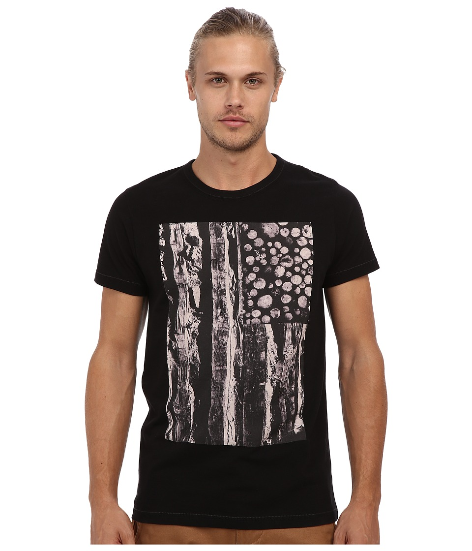 French Connection - Log And Stripes Tee (Black) Men's Clothing