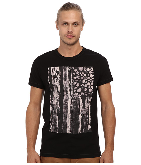 French Connection - Log And Stripes Tee (Black) Men