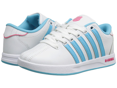 K-Swiss Kids - Court Pro (Little Kid) (White/Bachelor Button/Raspberry) Girls Shoes