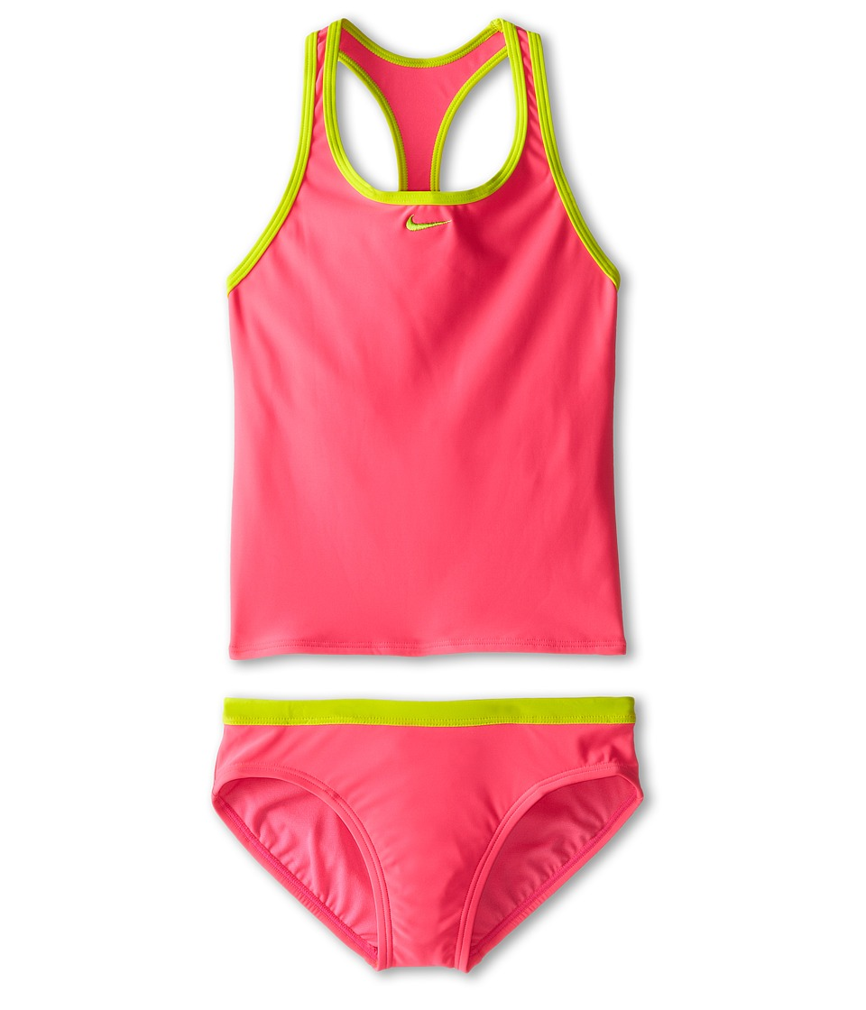Nike Kids - Core Solid Racer Back Tankini And Brief (Big Kids) (Pink Pow) Girl's Swimwear Sets