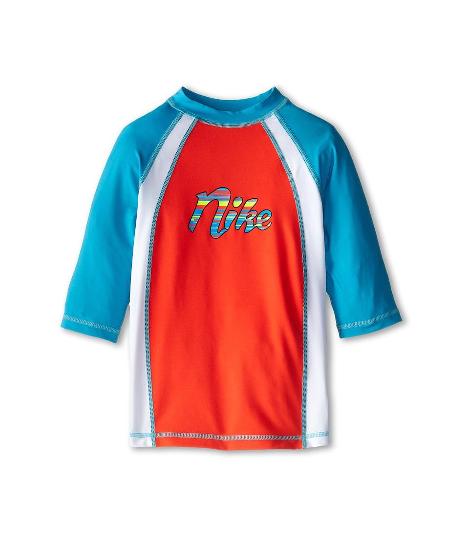 Nike Kids - Colorblock S/S Hydro Top (Big Kids) (Bright Crimson) Girl's Swimwear