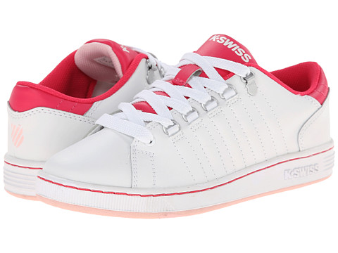 K-Swiss Kids - Lozan (Big Kid) (White/Raspberry/Crystal Rose) Girls Shoes