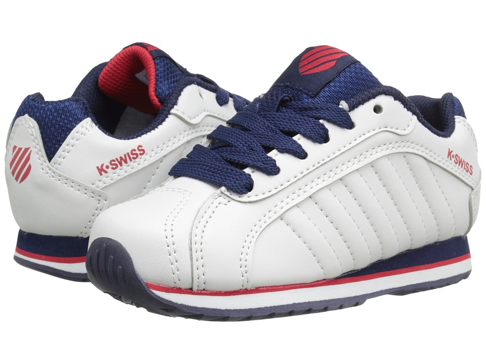 K-Swiss Kids - Verstad III S (Little Kid) (White/Navy/Red) Boys Shoes
