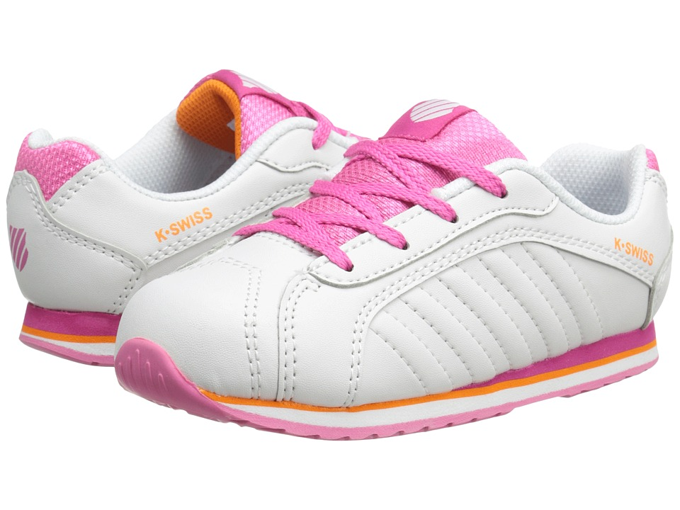 K-Swiss Kids - Verstad III S (Infant/Toddler) (White/Shocking Pink/Orange Popsicle) Girls Shoes