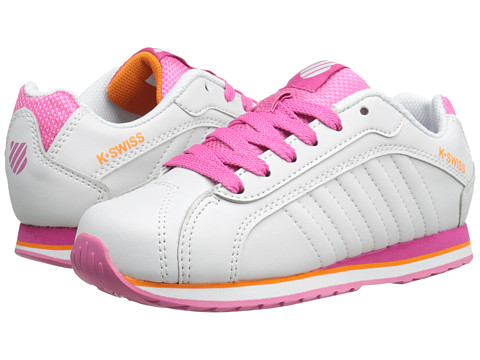 K-Swiss Kids - Verstad III S (Little Kid) (White/Shocking Pink/Orange Popsicle) Girls Shoes
