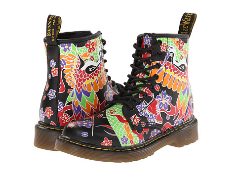 Dr. Martens Kid's Collection - Delaney Lace Boot (Little Kid/Big Kid) (Multi Psych Tattoo Softy T) Girls Shoes