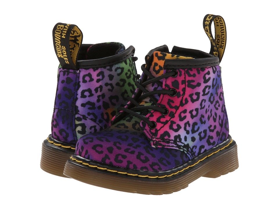 Dr. Martens Kid's Collection - Brooklee B 4-Eye Lace Boot (Toddler) (Multi Mini Psych Leo T Canvas) Girls Shoes