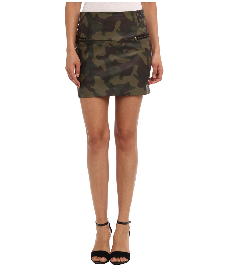 Sam Edelman - Camo Leather Mini Skirt (Forest) Women's Skirt