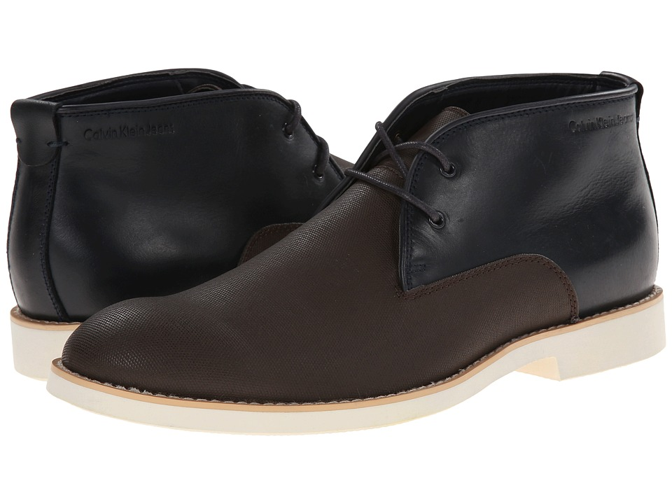 Calvin Klein Jeans - Chester (Dark Brown Leather/Midnight Canvas) Men's Lace-up Boots