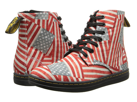 Dr. Martens Kid's Collection - Marley Lace Boot (Little Kid/Big Kid) (Red/White/Blue Mini Stars & Stripes T Canvas) Kids Shoes