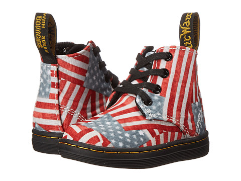 Dr. Martens Kid's Collection - Laney B Lace Boot (Toddler) (Red/White/Blue Mini Stars & Stripes T Canvas) Kids Shoes