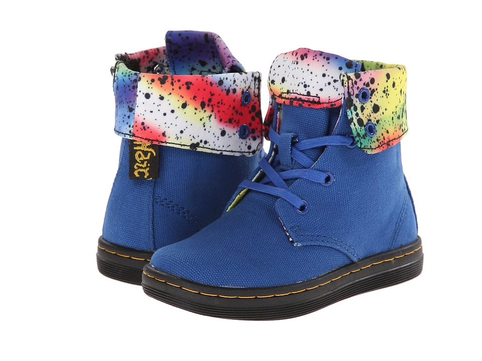 Dr. Martens Kid's Collection - Rose Fold Down Boot (Toddler) (Blue Canvas) Girls Shoes