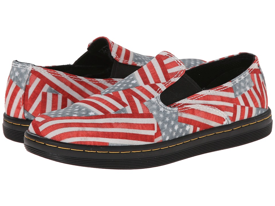 Dr. Martens Kid's Collection - Timon Slip-On Shoe (Little Kid/Big Kid) (Red/White/Blue Mini Stars & Stripes T Canvas) Kids Shoes