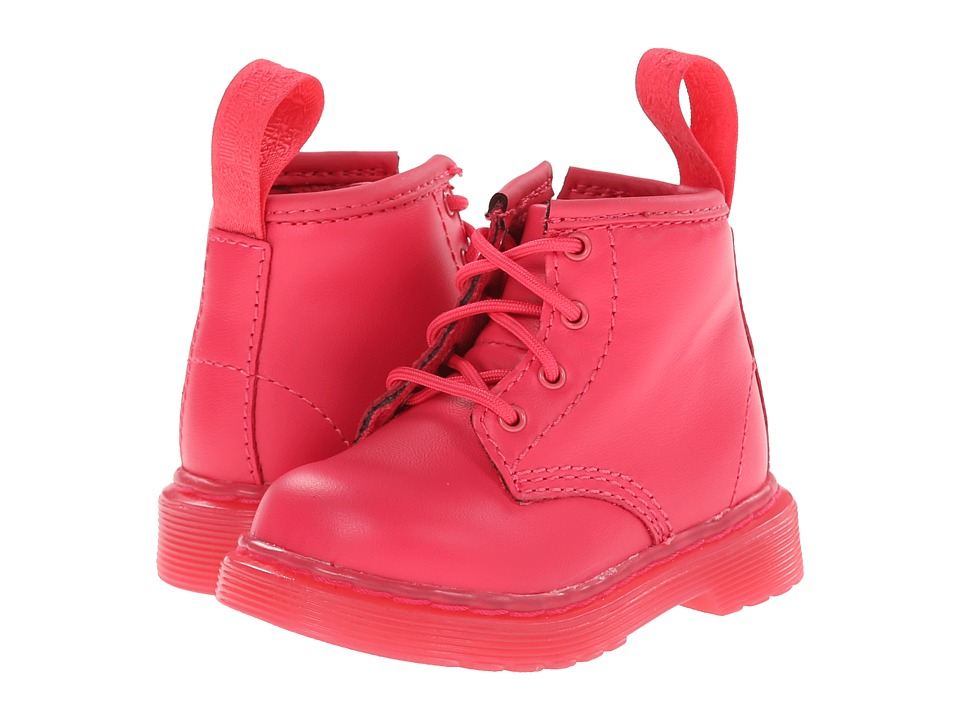 Dr. Martens Kid's Collection - Brooklee B 4-Eye Lace Boot (Toddler) (Neon Pink Softy T) Kids Shoes