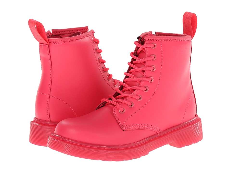 Dr. Martens Kid's Collection - Delaney Lace Boot (Little Kid/Big Kid) (Neon Pink Softy T) Kids Shoes