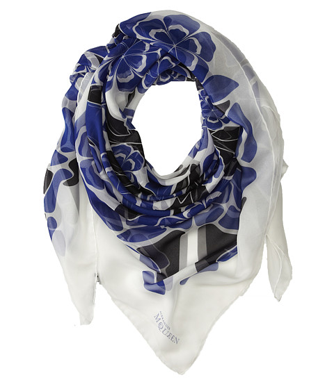 Alexander McQueen - Exploding Flowers (Royal/White) Scarves