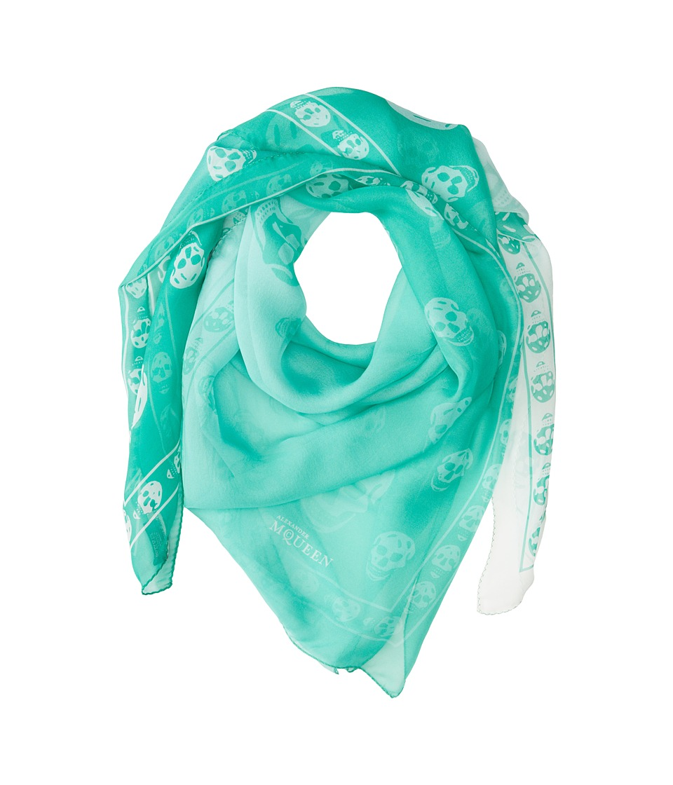 Alexander McQueen - Degrade Skull Shawl Chiffon (Grass Green/White) Scarves