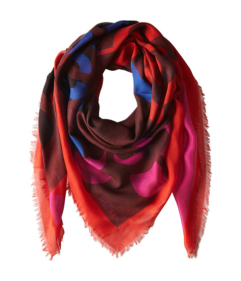 Alexander McQueen - Asymmetrical Cut (Flame/Bordeaux) Scarves
