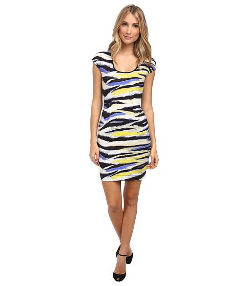 Just Cavalli - Short Sleeve Animal Print Dress (Bluette Variant) Women's Dress