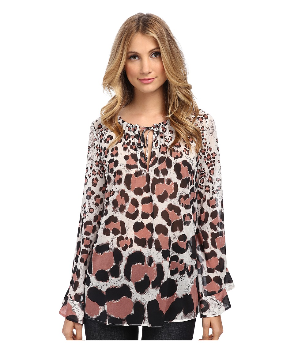 Just Cavalli - Long Sleeve Animal Print Top (White Variant) Women's Dress