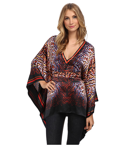 Just Cavalli - Animal Print Shawl Top (Black Variant) Women's Blouse