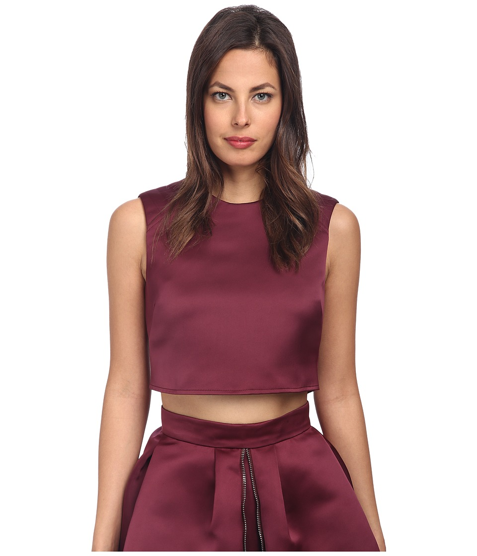 McQ - Cropped Biker Top (Blood Red) Women's Blouse