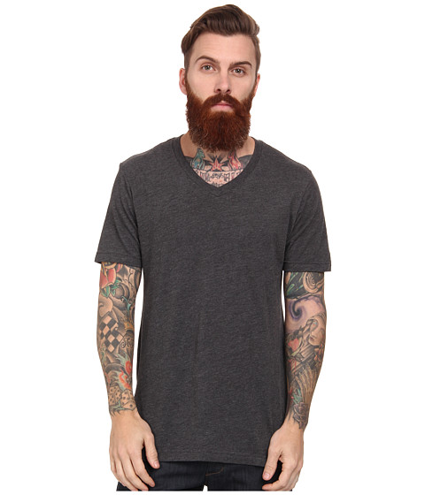 Volcom - Heather V-Neck Tee (Heather Black) Men's T Shirt