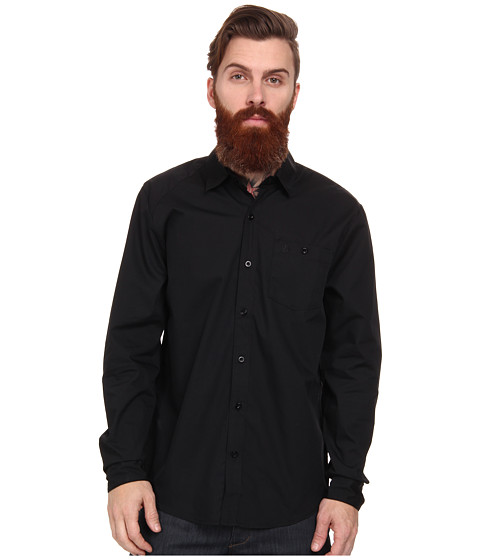Volcom - Everetty Solid L/S Woven (Black) Men's Long Sleeve Button Up