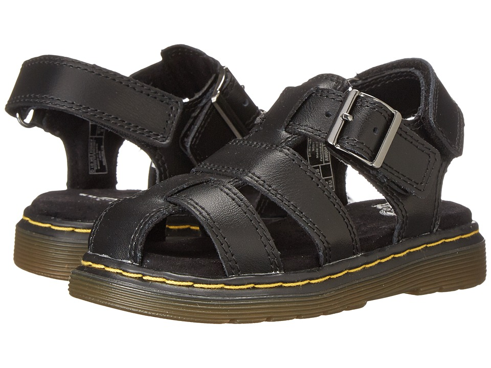 Dr. Martens Kid's Collection - Moby Fisherman Sandal (Toddler) (Black Ecotec) Kids Shoes