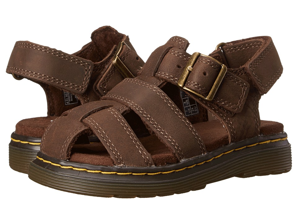 Dr. Martens Kid's Collection - Moby Fisherman Sandal (Toddler) (Dark Brown Wyoming) Kids Shoes