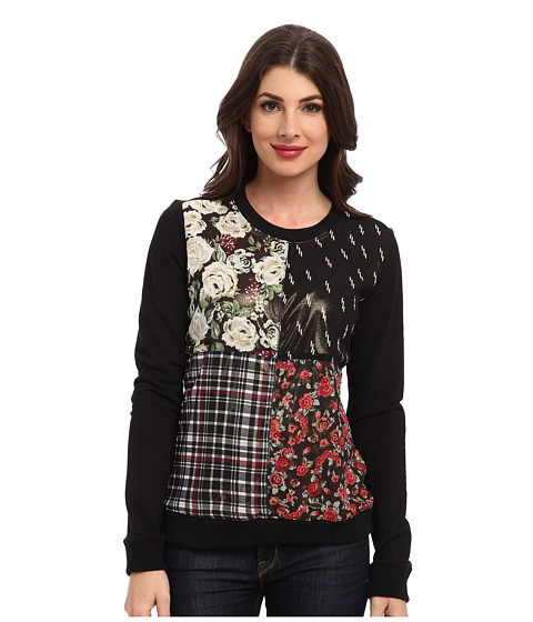 Sam Edelman - Mixed Print Sweatshirt (Black) Women's Sweatshirt