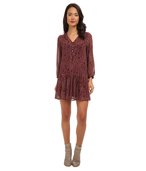 Sam Edelman - L/S Croc Print Dress (Russet) Women's Dress