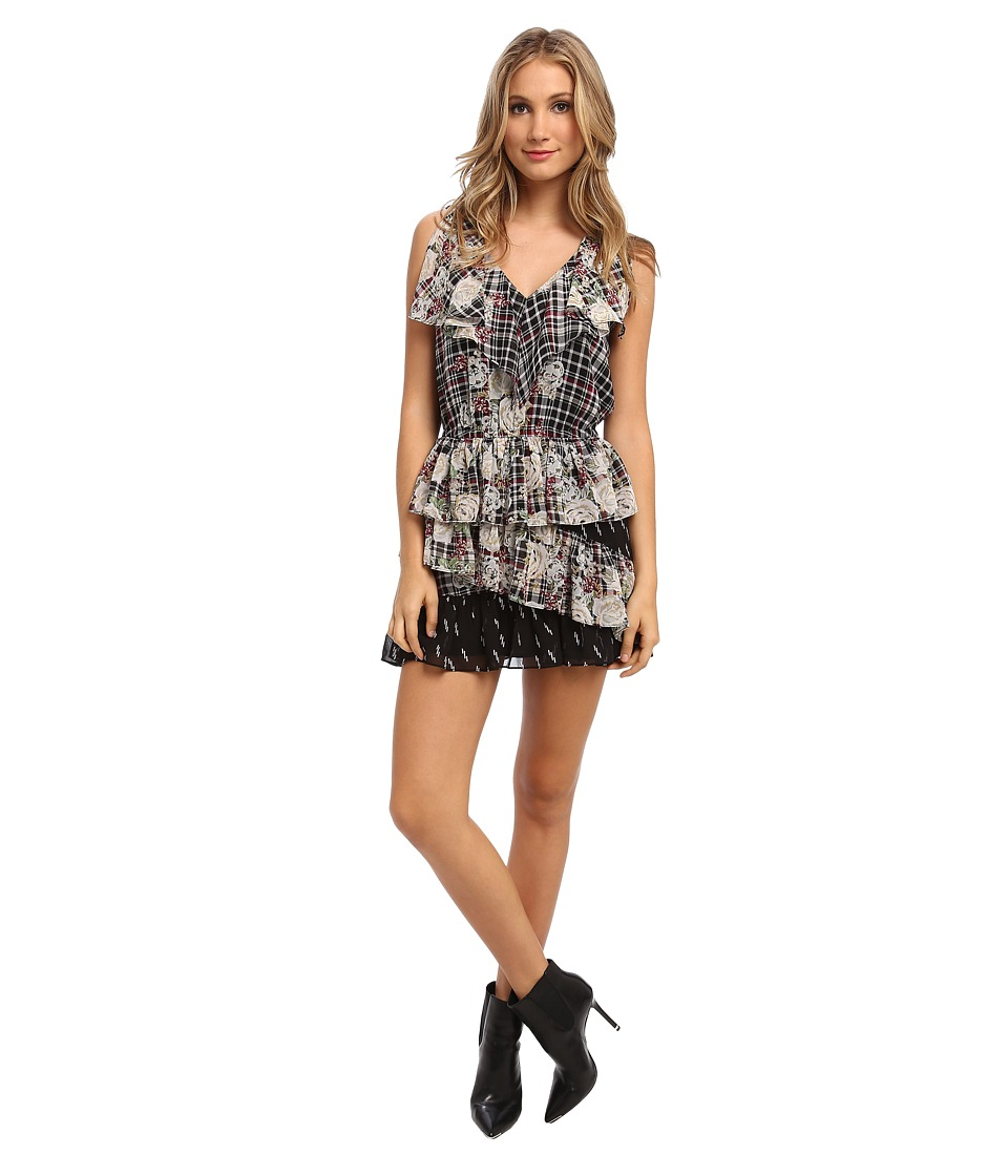 Sam Edelman Plaid Floral Ruffle Dress (Multi) Women