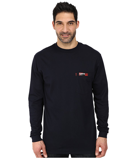 Cinch - L/S Cinch WRX Flame Resistant Printed Interlock Pocket Tee (Navy) Men's Long Sleeve Pullover