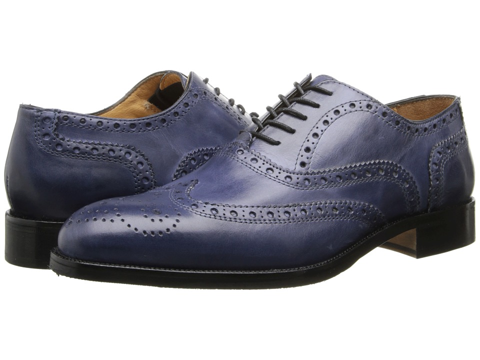 Ron White - Damon (Jeans Hand Burnished Calf) Men's Lace Up Wing Tip Shoes