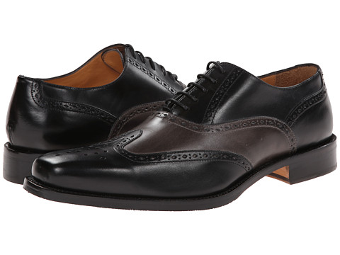 Ron White - Tanner (Black/Slate Distressed Calf) Men's Lace Up Wing Tip Shoes