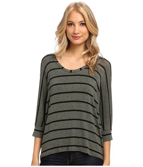 Splendid - Striped Drapey Dolman (Camo Green) Women's Clothing